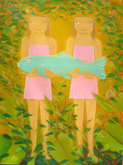 "Jorge Drosten, ""Rosalia y Rosa,"" 2014, oil on canvas, 40 x 30 inches, $6,000"