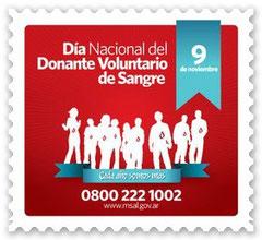 9 de Noviembre: DÍA NACIONAL del DONANTE de SANGRE, en conmemoración de la realización de la Primera Transfusión de Sangre Citratada por el Dr. Luis AGOTE, 1914.