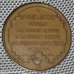 2. Dorso Medalla Dr. Luís Agote, Homenaje 1929.