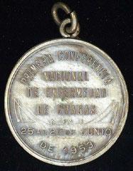 7. Dorso Medalla Conmemorativa de la Primera Conferencia Nacional de la Enfermedad de Chagas, del 25 al 27 de Junio de 1953.