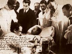 Escena de la Primera Transfusión de Sangre Citratada. Bs. As. 09-11-1914