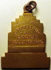 10. Dorso Medalla Honorífica, Asociación de Dadores Voluntarios de Sangre de la Ciudad de Buenos Aires, 1960.