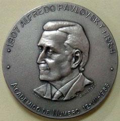 12. Frente Medalla Dr. Alfredo Pavlovsky (1907-1984) - Academia Nacional de Medicina / Fundación de la Hemofilia. 1984.