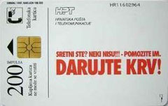 CROATIA - 1997 / TK28 - DARUJTE KRV 2 - Blood Donation - 200 units, (Dorso).