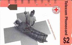 Australie telecarte à trous 2 $ Blood Transfusion, transfusion sanguine croix rouge ut, TBE.