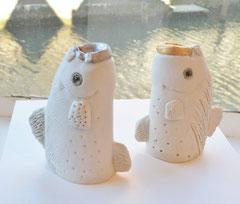 """Fish shout"" 2014,  Porcelain/stoneware, glaze / H12 cm (+-) / Toshi -Takeuchi / sold out"