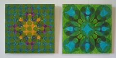 Grüne Komposition unter Zugrundelegung einer Damenfahrradsattelverpackung, 2013, 2-teilig, je 50 x 50 cm