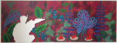 Dschungel ohne Soldat, 2017, 80 x 218 cm (Acryl auf Holz)