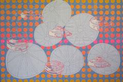 6 kleine Explosionen, 2009, 100 x 150 cm (Mischtechnik auf Leinen)