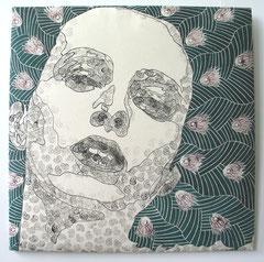 Innocent dreams - Pfaufrau, 2006, 76 x 76 cm (gepolstert)
