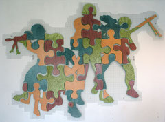 German-Jigsaw-Soldiers, 2010, ca. 200 x 250 cm (Acryl auf Holz, Drahtgitter)