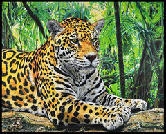 """ LEOPARD IN THE JUNGLE "" acrylique sur toile de lin 81 x 100 cm"