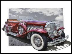 """"""" DUESENBERG 1933 """"  acrylique sur toile de lin  81 x 100 cm"""
