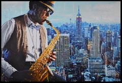 """"""" JAZZ NEW YORK """"  acrylique sur toile de lin   89 x 130 cm"""