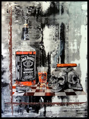 """"""" JACK SKULLS """" acrylique sur toile de lin 81 x 100 cm"""