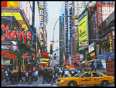 """ COLORS OF NEW YORK "" acrylique sur toile de lin  85 x 112 cm"