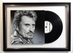 """ JOHNNY HALLYDAY ""  portrait acrylique avec Vinyle 61,5 x 98,5 cm"