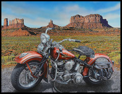 """"""" STOP IN THE MONUMENT VALLEY """" acrylique sur toile lin 89 x 116 cm"""
