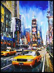 """"""" TIME SQUARE """"   acrylique sur toile de lin   89 x 116 cm"""
