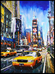 """ TIME SQUARE ""   Acrylic Painting on Canvas   89 x 116 cm"