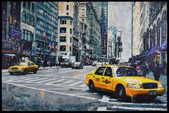 """ FALL SKY IN NEW YORK ""  acrylique sur toile de lin  73 x 116 cm"