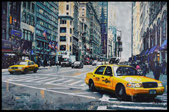 """ FALL SKY IN NEW YORK ""  acrylique sur toile de lin  73 x 116 cm"