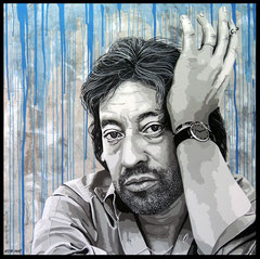 """"""" HOMMAGE A GAINSBOURG """"  Acrylic Painting on Canvas 100 x 100 cm"""
