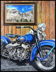 """"""" STURGIS 75 TH """" acrylique sur toile de lin  89 x 116 cm"""