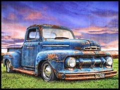 """ RUSTY BLUE ""  Acrylic Painting on Wood   81 x 100 cm"