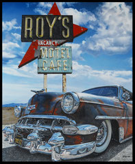 """"""" ROY' S CAFE """" acrylique sur toile de lin 81 x 100 cm"""