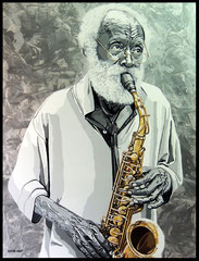 """"""" JAZZMAN """"    acrylique sur toile de lin  89 x 116 cm"""
