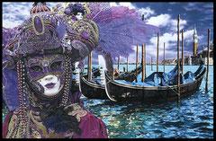 """"""" CARNAVAL DE VENISE """" acrylique sur toile de lin 65 x 100 cm"""