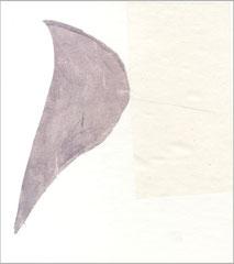 serie bianca #7, 2010, 19 x 17 cm, Graphit, Wasserfarbe, Druckfarbe auf Seide / Papier auf Karton