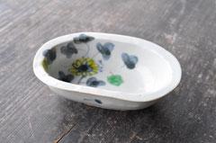 呉須色絵小花文オーバル豆鉢