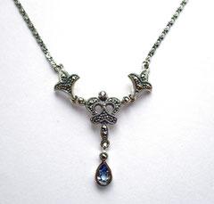 Collier-Kette-Aquamarin Spinell-Markasiten-Silber