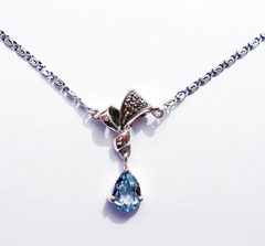 Collierkette,  Aquamarin Spinell-Markasiten-Silber