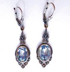 Ohrringe- Aquamarin Spinell-Markasiten-Silber