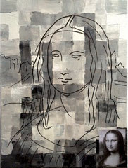 "2015-36, ""Pixeled Mona lisa"", 30 cm x 40 cm"