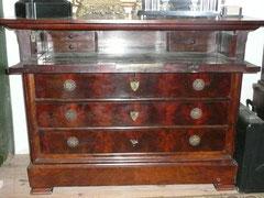 commode secrétaire Louis Philipe en acajou de cuba (tiroir écritoire ouvert)