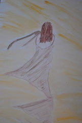"""""""Frau am Strand"""" Papier   40 cm / 29,5 cm"""
