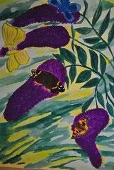 """Flieder mit Schmetterlinge""     Aquarellpapier            40 cm / 29,5 cm ..."