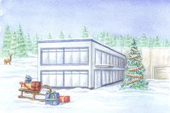 Design für die Weihnachtskarte 2019 der Alfred Doepker Projektgesellschaft, Aquarell