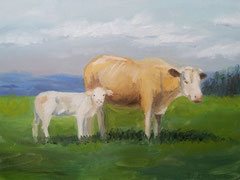 """""""Kühe auf der Wiese"""", Öl auf Malkarton, 30 cm x 40 cm; 180 Euro"""