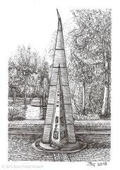 """Obelisk vom Brunnen am Finanzamt / Bürgerpark Fulda. Zeichnung zum Inktober-Stichwort """"angular - kantig, eckig, schräg"""". 14,8 cm x 10,5 cm, Original erhältlich für 95,00 Euro."""