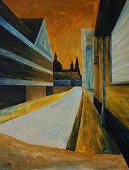 """""""Wiesenmühlenstraße mit Blick auf den Dom"""", Acryl auf Leinwand, 50 cm x 40 cm; 245 Euro"""