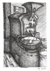 """Röstmaschine """"Bruno"""" der Kaffeekultur Fulda.  Zeichnung zum Inktober-Stichwort """"roasted- geröstet"""". 14,8 cm x 10,5 cm."""