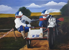 """Motorrad-Gespann"", Auftragsarbeit, 80 cm x 60 cm, Acryl auf Leinwand"