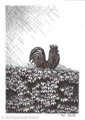 """Dieser Hahn aus Metall befindet sich in Fulda in der Wiesenmühlenstraße. Zeichnung zum Inktober-Stichwort """"chicken - Huhn, Hähnchen"""". 14,8 cm x 10,5 cm, Original erhältlich für 95,00 Euro."""
