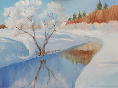 """Fluss im Winter"", Öl auf Malkarton, 30 cm x 40 cm; 180 Euro"