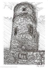 """Der Hexenturm in Fulda. Im 12. Jahrhundert Teil der Stadtmauer, später Frauengefängnis und heute Gedenkstätte an die Opfer der Hexenverfolgung. Zeichnung zum Inktober-Stichwort """"spell - Zauber"""". 10,5 cm x 14,8 cm, Original erhältlich für 95,00 Euro."""